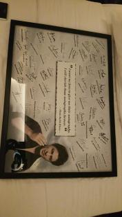 A frame containing autographs from SRK fans, as once He tweeted that He wants His fans to give Him autographs!